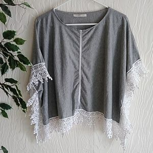 Tops - Boutique Gray and white crocheted trimmed poncho